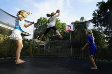 basketball on the trampoline